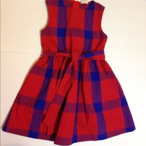 Crew cuts red with blue stripped dress size 4